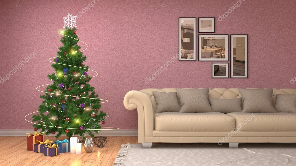 Christmas tree with decorations in the living room. 3d illustrat ...