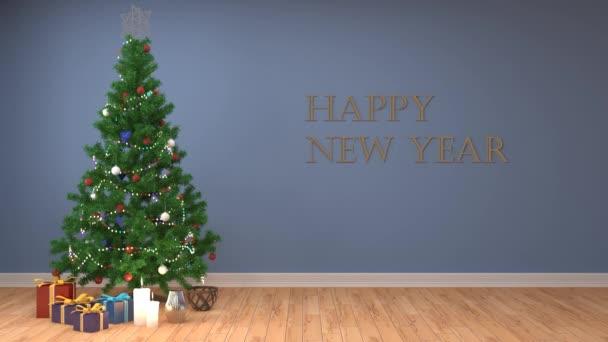 Vánoční stromeček s ozdobami v obývacím pokoji. 3D obrázek