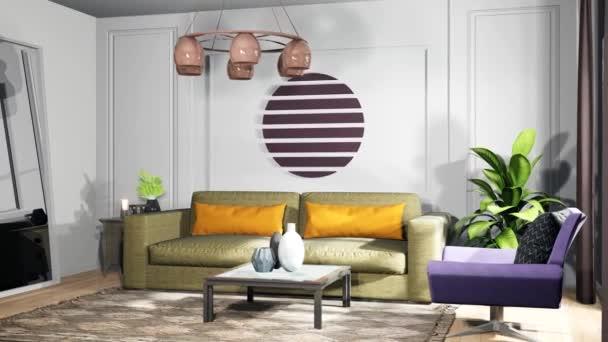 Interiér obývacího pokoje. 3D ilustrace