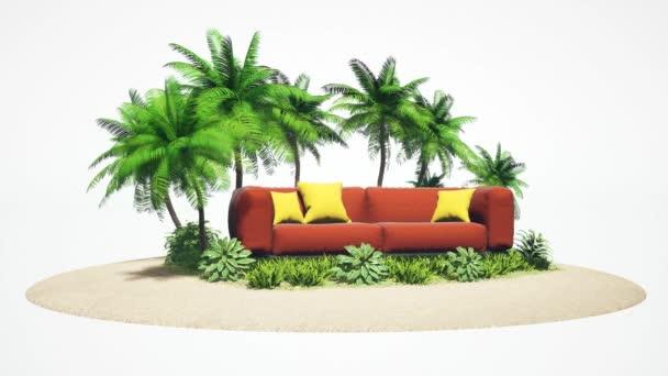 Koncept dovolené. Odpočívej na měkkém nábytku na ostrově. 3D ilustrace