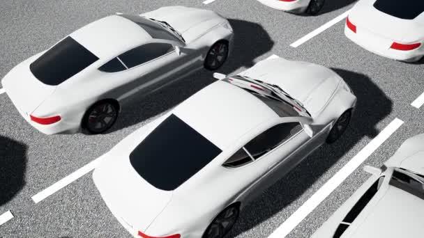 Zaparkovaných aut. 3D ilustrace