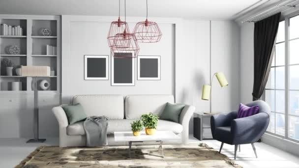 Innenraum des Wohnzimmers. 3D-Illustration