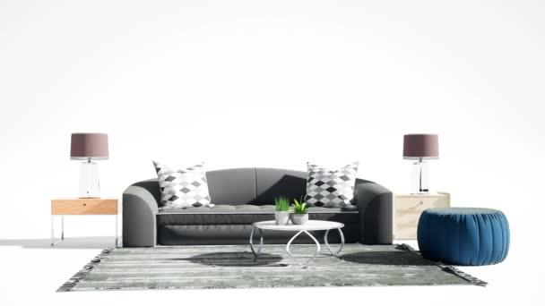 Nábytek na bílém pozadí. 3D ilustrace
