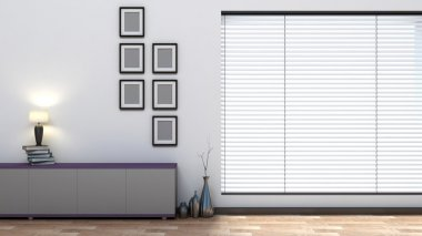 empty interior with blinds