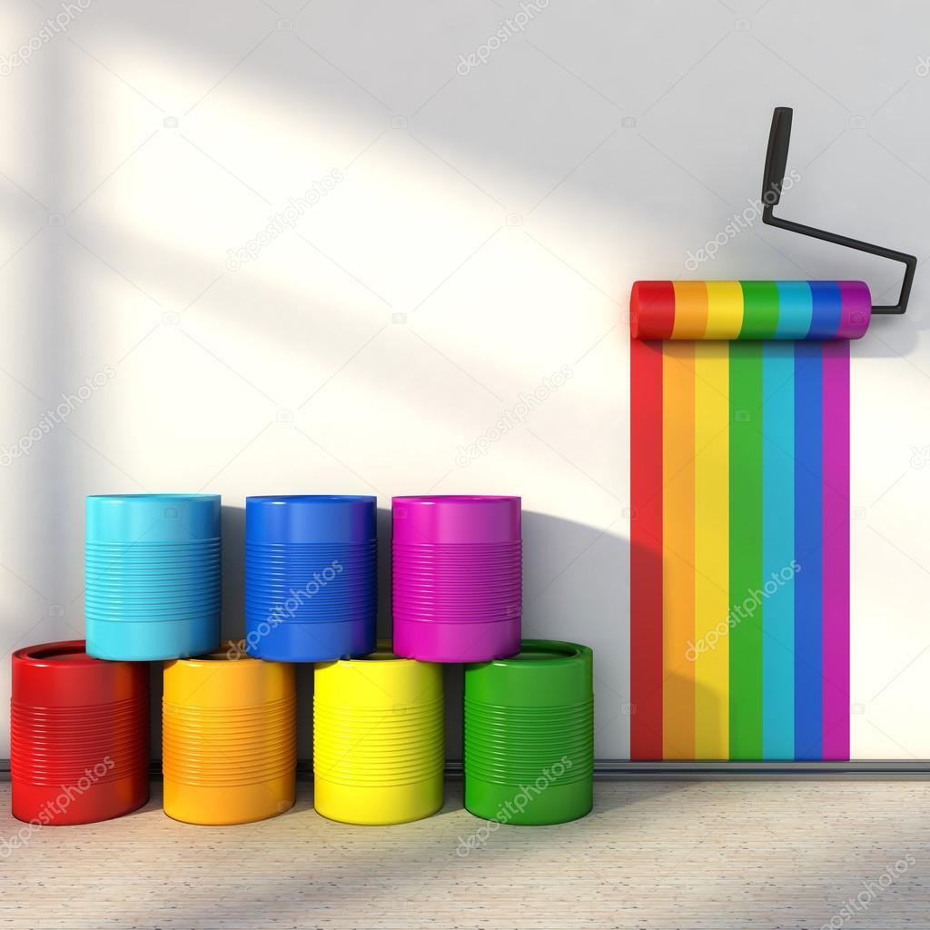 wahl der farben f r die malerei ein zimmer farben des regenbogens stockfoto stockernumber2. Black Bedroom Furniture Sets. Home Design Ideas