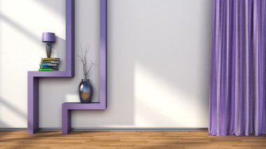 room with purple curtains and shelf with lamp. 3D illustration