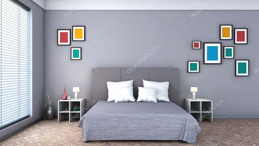 Bedroom with colorful paintings