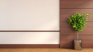 Interior with wood trim and green plant. 3D Illustration