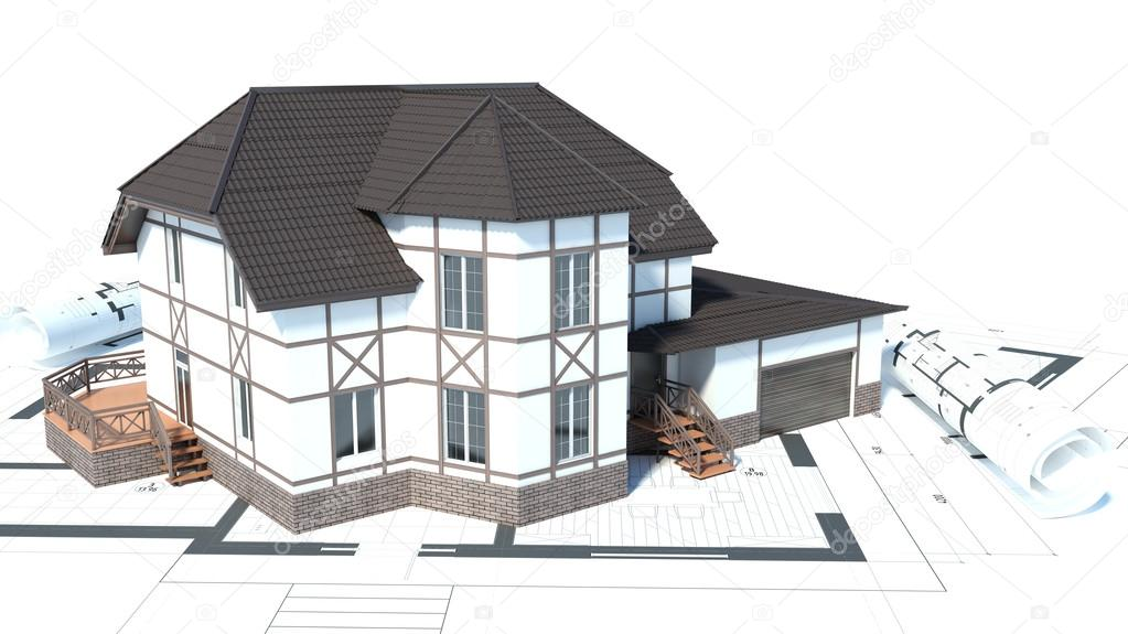 Amazing Construction Of Houses. Drawings. 3d Illustration U2014 Photo By StockerNumber2