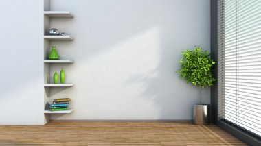 interior with plant and shelf. 3D illustration