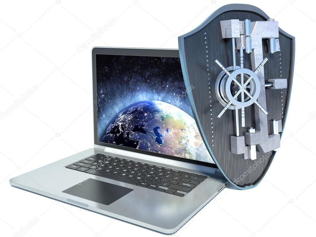 Shield antivirus and laptop, abstract — Stock Photo