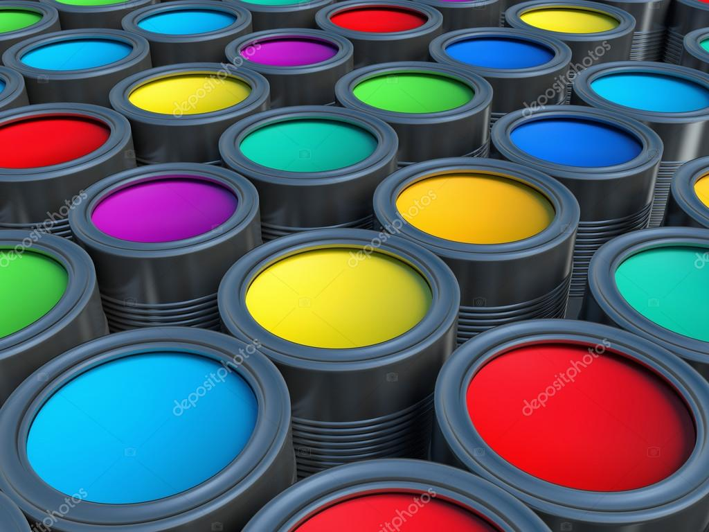 Abstract concept. Group of tin metal cans with color paint dye