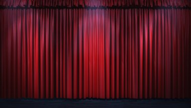 3d red curtain lit by spot lights