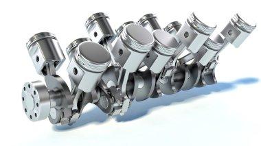 V10 engine pistons. 3D