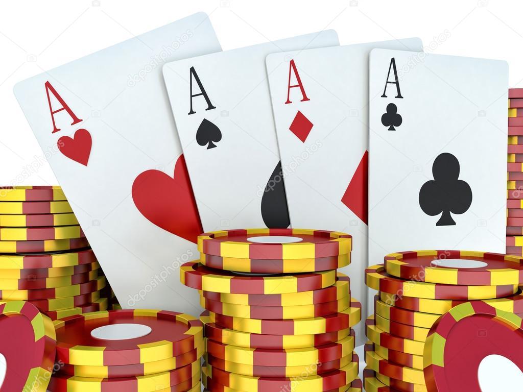 Image De Moteur De Rendu 3d Jetons De Casino Rouge Et Cartes à