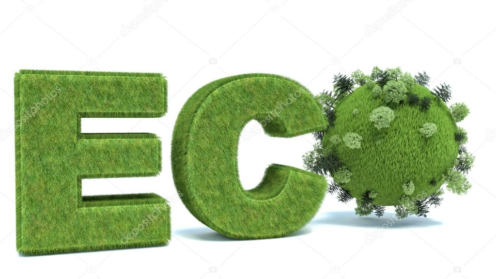 green eco word with Earth and trees