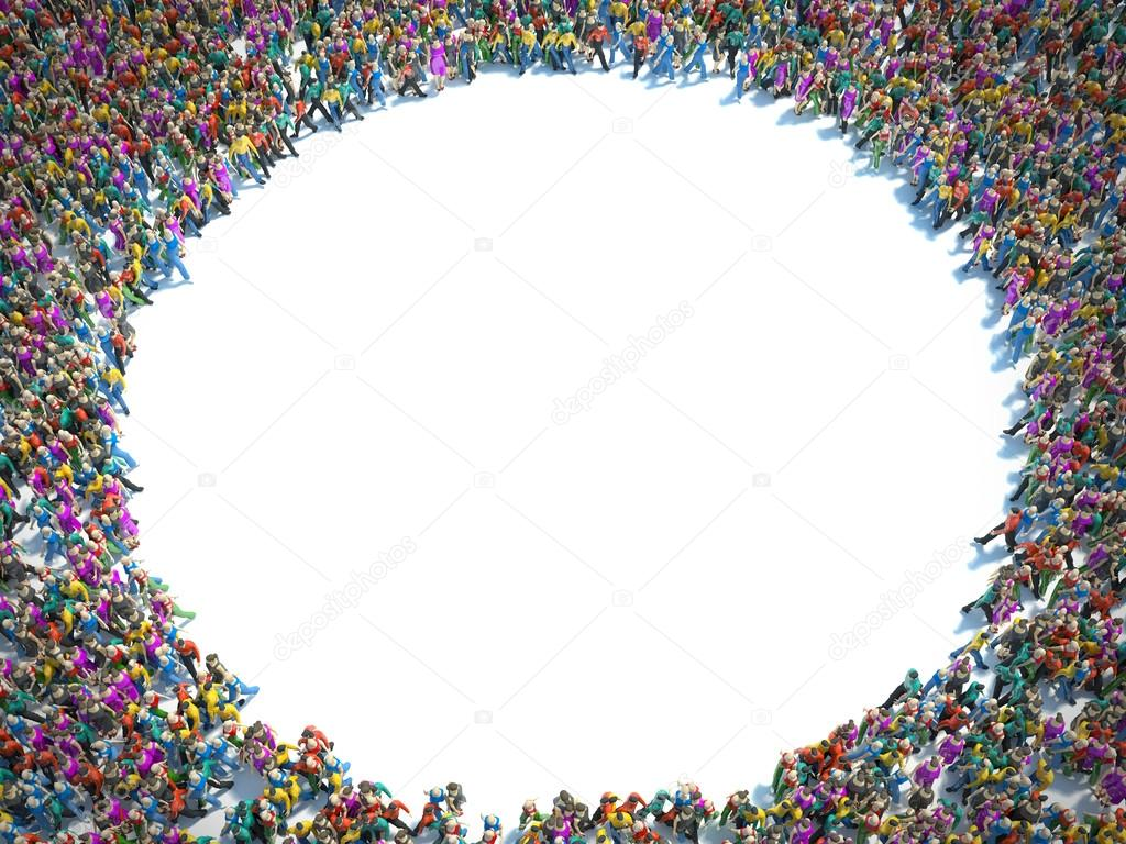 Large group of people seen from above, gathered in the shape of