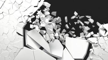 3d rendering destruction of wall