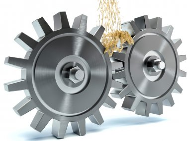Oiling Gears on white background