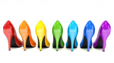 Shopping concept. Choice of colored high heels shoes on white