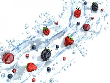 Fresh berries in water splash