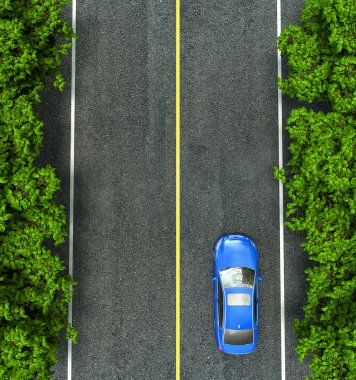 blue car on the road, the view from the top