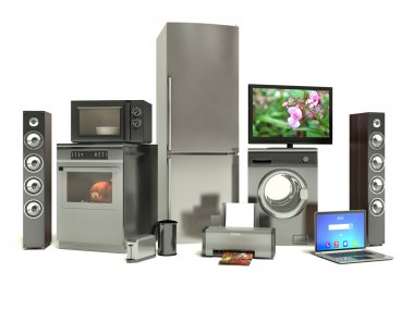 Home appliances. Gas cooker, tv cinema, refrigerator air conditi