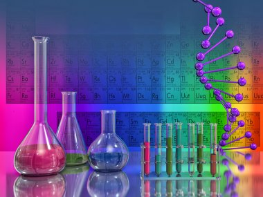 laboratory flasks and DNA on background of the periodic table
