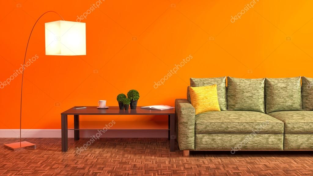 Oranje interieur met groene sofa, houten tafel en lamp. 3D illus ...