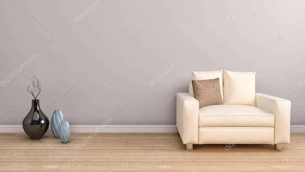 White Single Chair Furniture and Vase Decors. 3d illustration