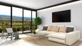 Fotografia Salone bianco moderno interior design. illustrazione 3D