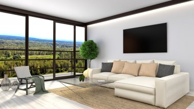 Modern white living room interior design. 3d illustration