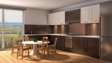 kitchen with a wood trim and a dining table. 3d illustration