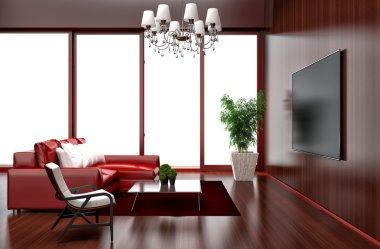 Modern red living room interior design. 3d illustration