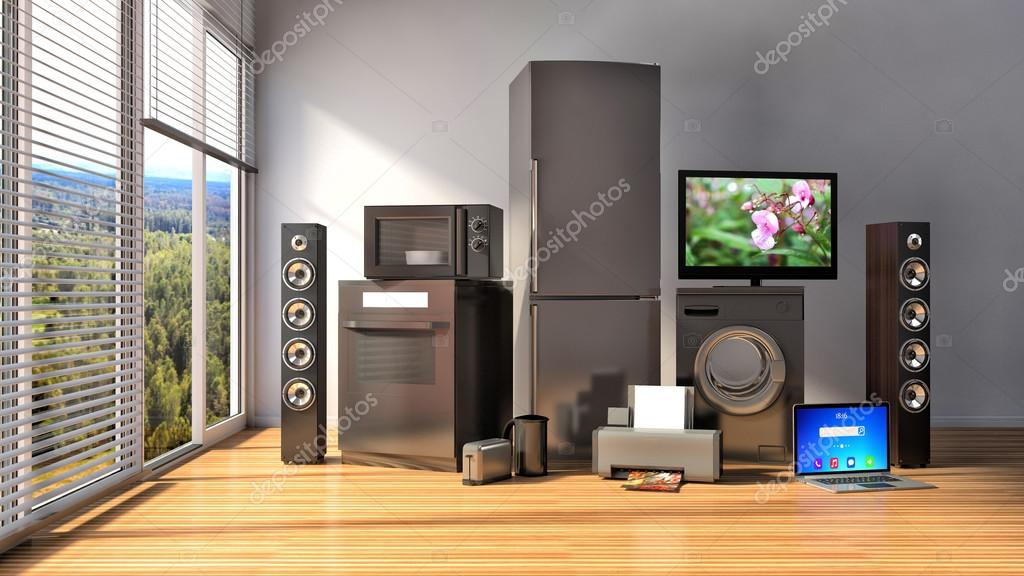 Home appliances. Gas cooker, tv cinema, refrigerator, microwave,