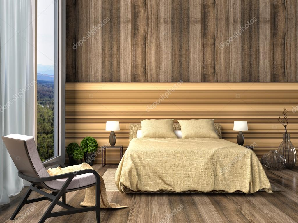 Slaapkamer Met Hout : Slaapkamer met hout trim u2014 stockfoto © stockernumber2 #76592233