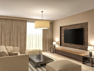 Modern brown living room interior design. 3d illustration
