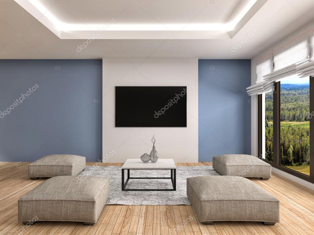 Dise O De Interiores Moderno Sal N Azul Ilustraci N 3d Foto De  ~ Programa De Diseño De Interiores Gratis En Español