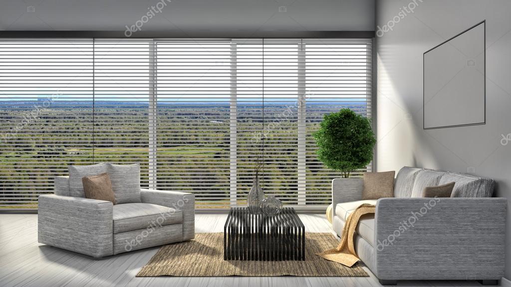 Modern white living room interior design. 3d illustration