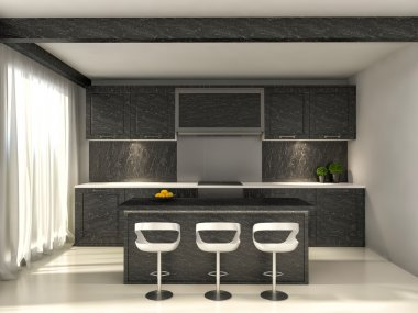 black kitchen and a dining table. 3d illustration
