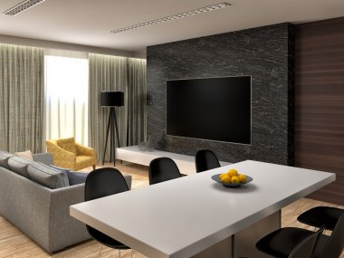 Modern living room interior design. 3d illustration