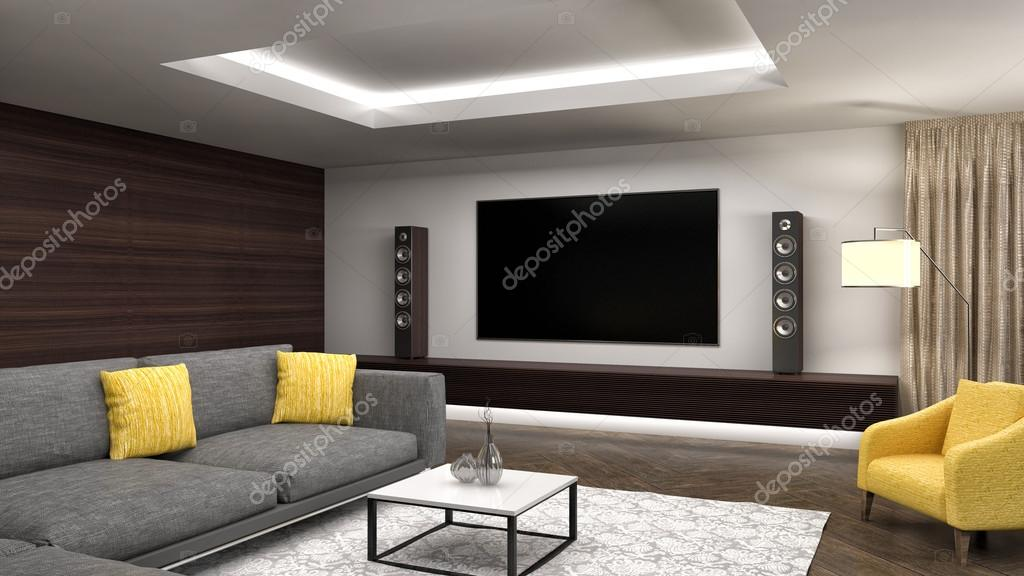 Moderne woonkamer interieur design. 3D illustratie — Stockfoto ...