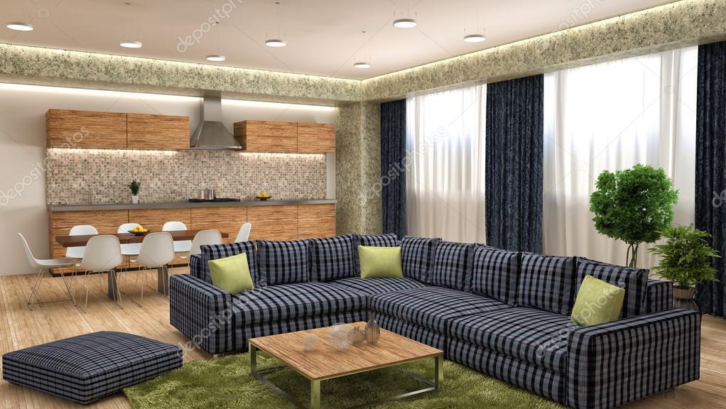Moderne Küche und Wohnzimmer. 3D-Illustration — Stockfoto ...