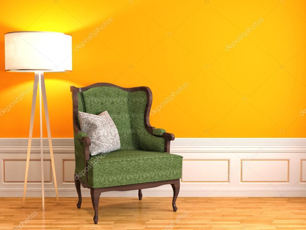oranje interieur met stoel en lamp. 3D illustratie — Stockfoto ...