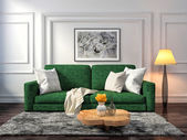 Photo interior with sofa. 3d illustration