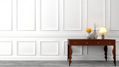 console table in a classic living room interior. 3D illustration