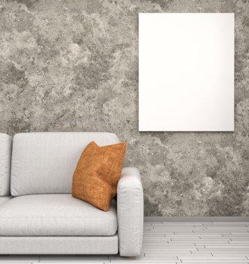 mock up poster in interior background, 3D render