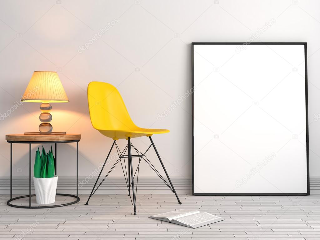 Plakatrahmen mit Stuhl Hintergrund, 3D-Illustration Modell ...