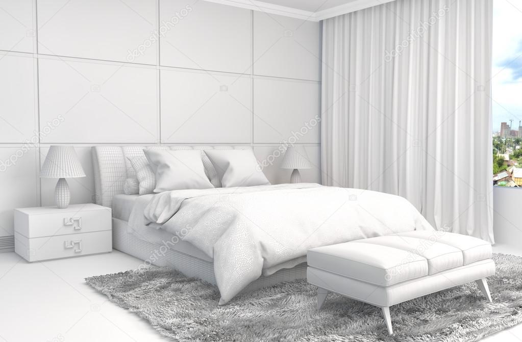 Gaas Het Interieur : Slaapkamer interieur met cad draadframe gaas d illustratie