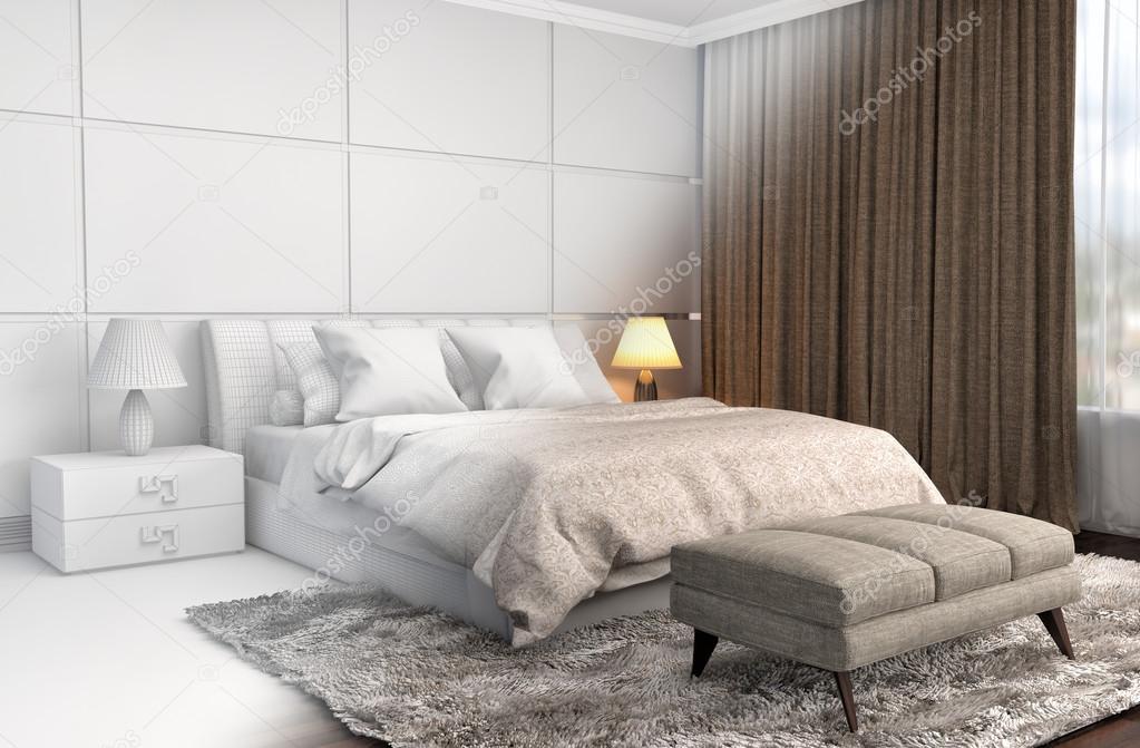 Schlafzimmer-Einrichtung mit Cad Drahtgitter Maschenweite. 3D ...